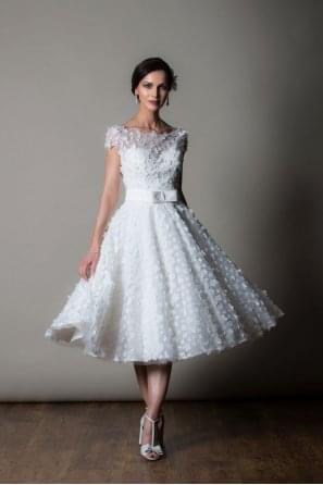 'NICE' Tea Calf Length Wedding Gown in Flower Detail Cap Sleeve