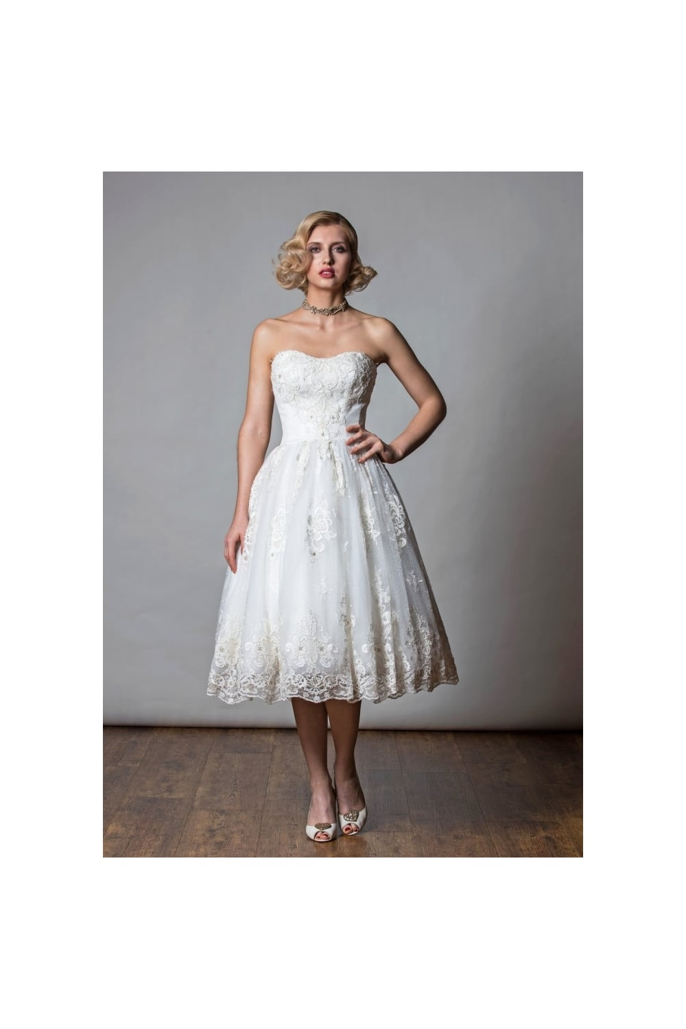 1061 Rita Mae Samsara Tea Length Vintage Lace Short Wedding Dress