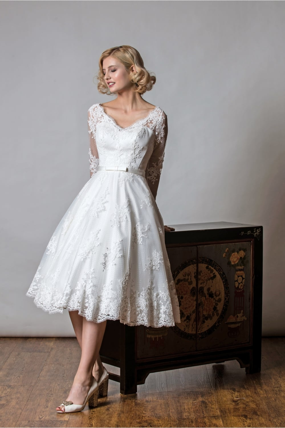 1048 shelley rita mae tea length lace polka short wedding dress sleeves shelley tea length vintage lace polka dot short wedding dress with sleeves junglespirit Gallery