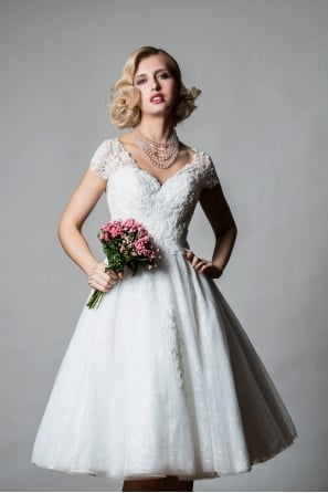 f8b447246aba TIANA Tea Length Short Wedding Dress With Cap Sleeve in Lace Sparkly Tulle