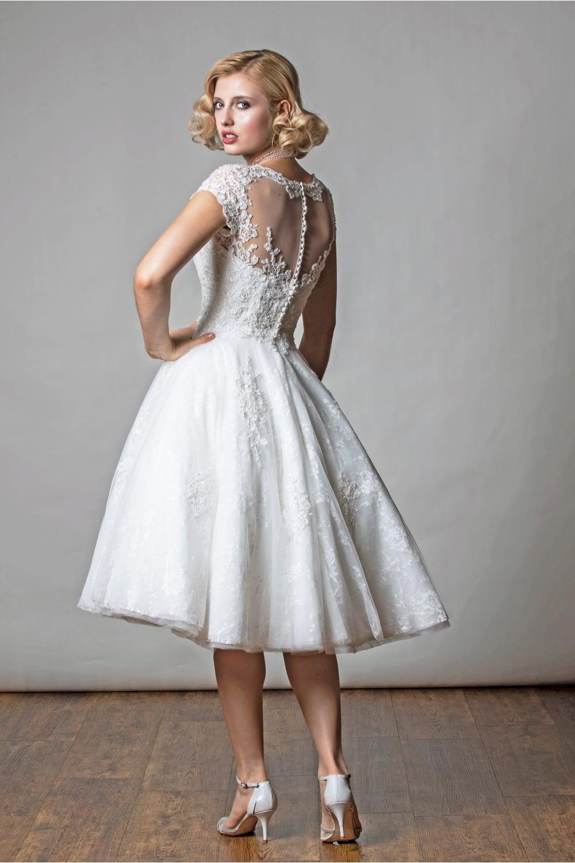 1054 TIANA Tea Length Short Wedding Dress With Cap Sleeve in Lace ...