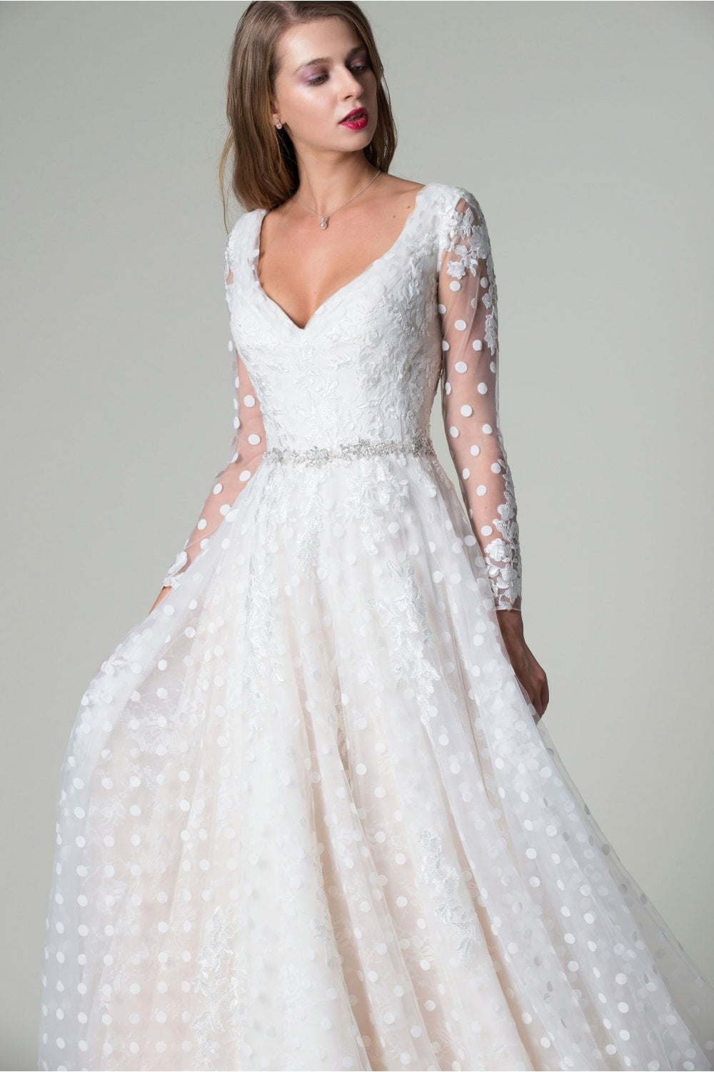 Tyne Is An Elegant Long Sleeved Wedding Gown With Lace And Polka Dot Skirt