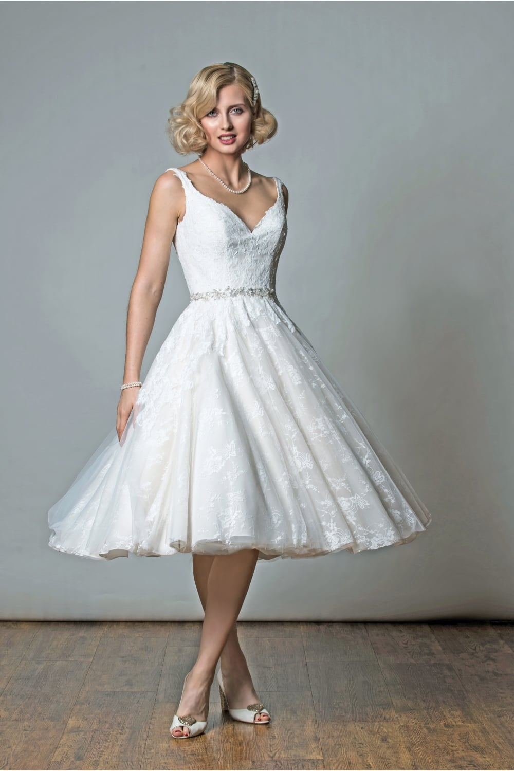 1057 Victoria Tea Length Lace Short Wedding Dress Rita Mae Alan Hannah