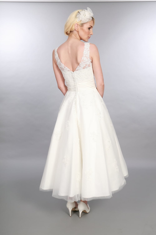 Anara lace 1950s tea calf length short wedding dress for Calf length wedding dresses