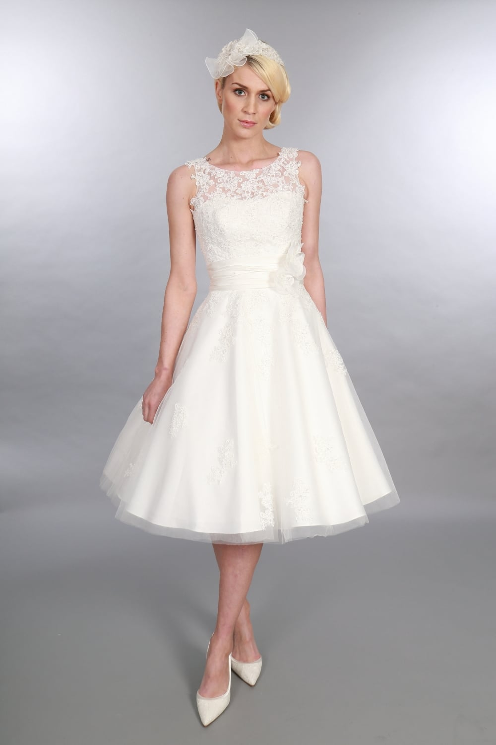 Timeless Chic Anara Tea Length Lace Tulle Short Vintage Wedding Dress - Mid Length Wedding Dresses