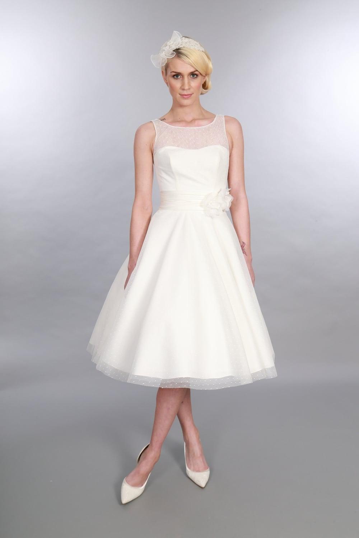Timeless Chic Anara Tea Length Polka Dot Short Wedding Dress