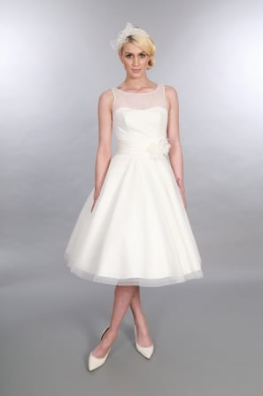 ANARA Polka Dot 1950s Tea Length Short Wedding Dress