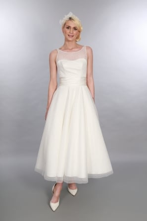 Anara Polka Dot Calf Length Vintage Inspired Wedding Dress