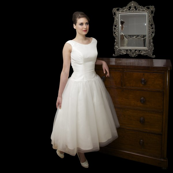 Vaudrey tea length 1950s audrey hepburn style wedding for 1950s style wedding dresses for sale
