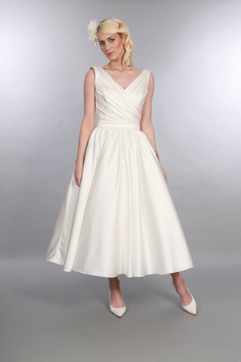 Betsy Satin Calf Length Wedding Dress with V Neck, 1950s Elegance