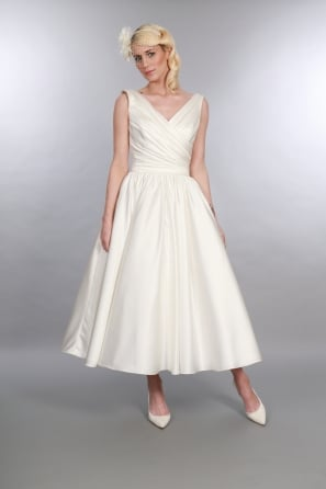BETSY Satin Calf Ballerina Ankle Length Vintage 1950s Style Wedding Dress