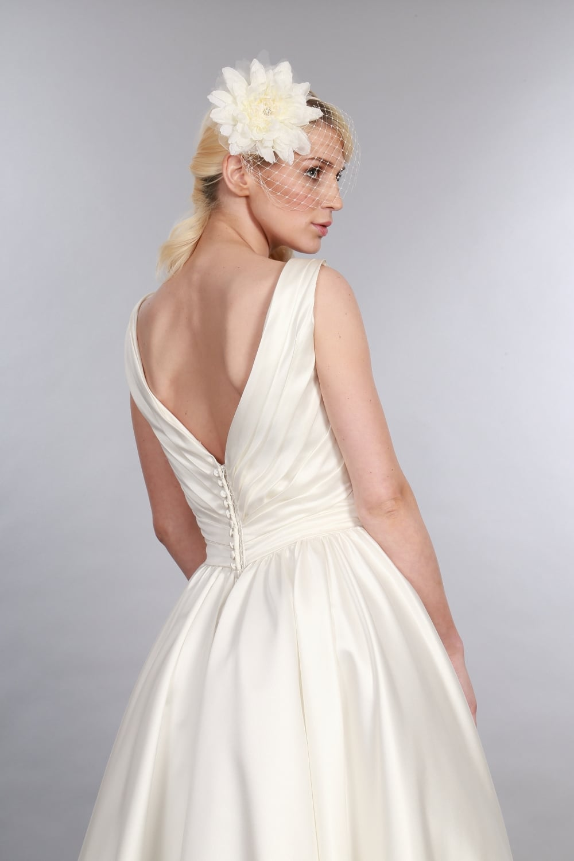 Betsy Satin Calf Length Wedding Dress with V Neck, 1950s Elegance