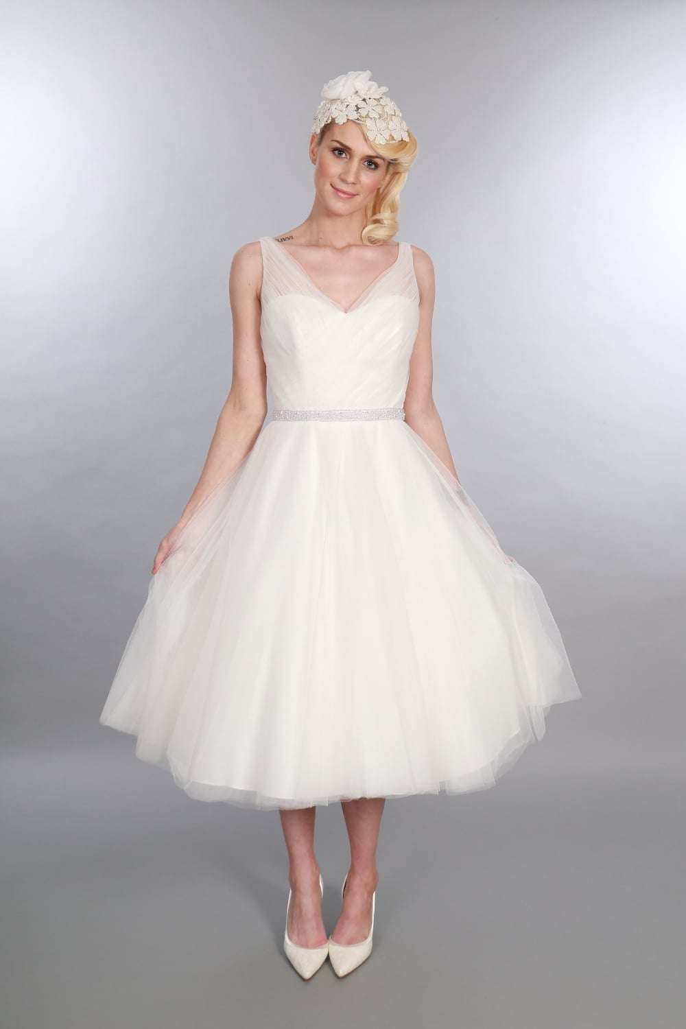 Timeless Chic Betsy Tea Length Tulle Wedding Dress V Neck