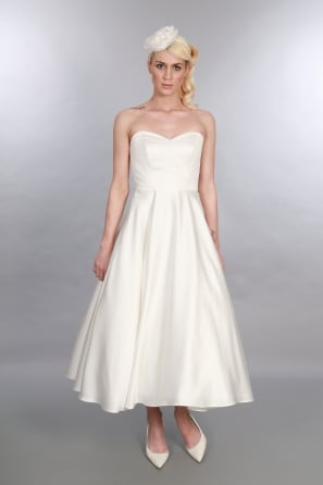 EDITH Calf Length Satin Simple Classic Wedding Dress
