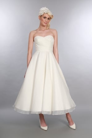 ELIZABETH Caf Length 1950s Short Wedding Dress