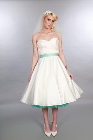 ELIZABETH SATIN Tea Length 1950s Vintage Inspired Wedding Dress