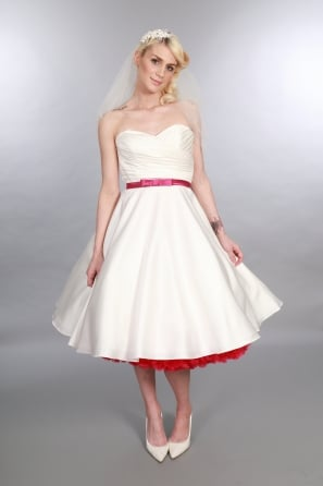 ELIZABETH Satn Tea Length 1950s Vintage Short Wedding Dress