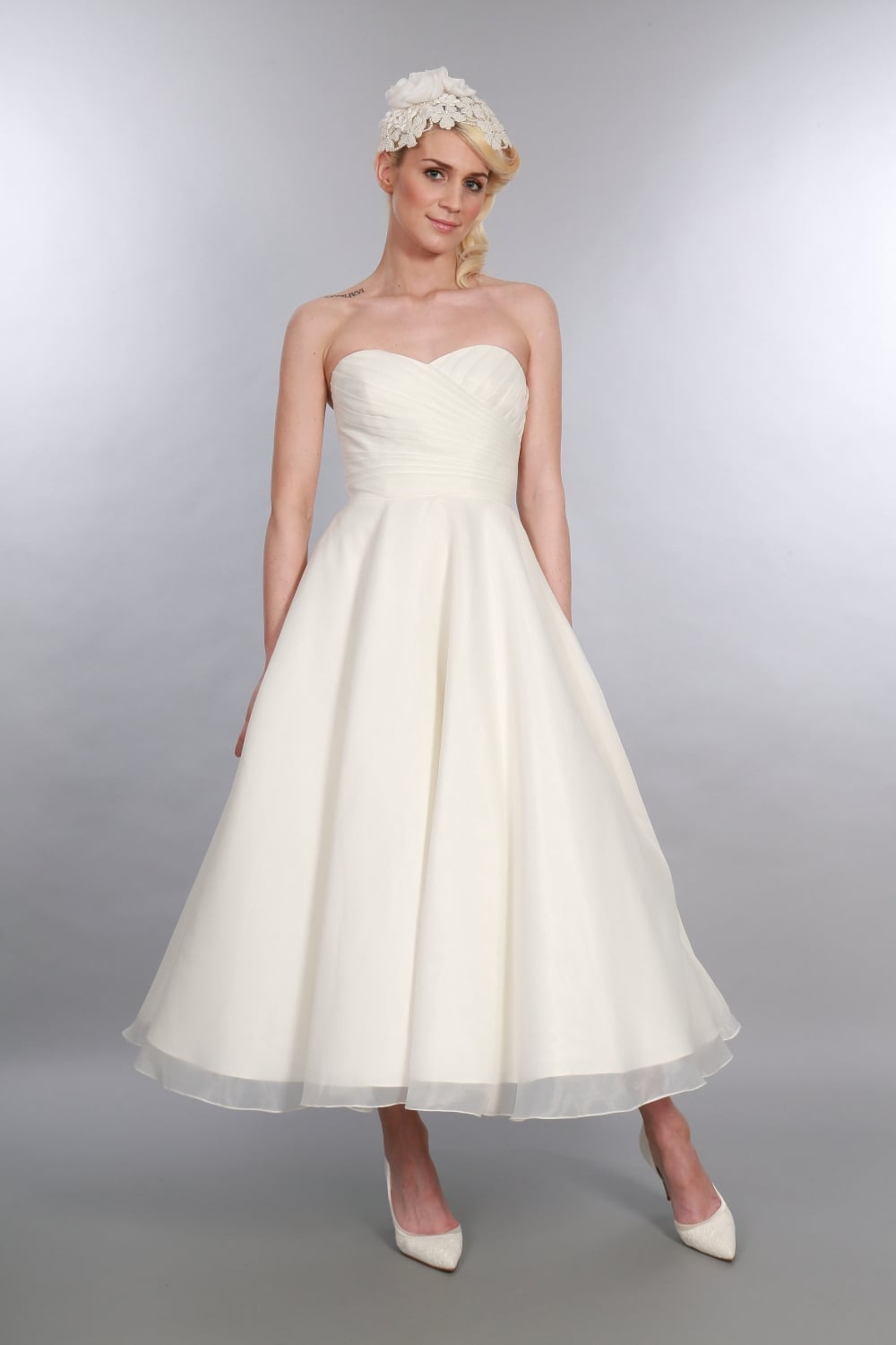 Elizabeth tea length 1950s inspired wedding gown by for Wedding dresses 1950s style