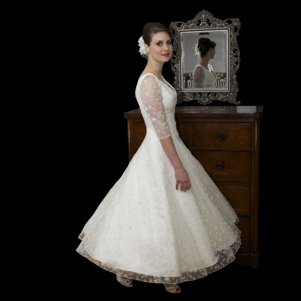 ELLA Tea Length Vintage Style Wedding Dress With Sleeves
