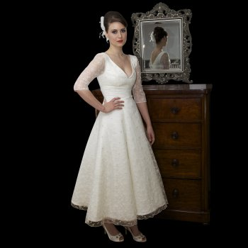 Timeless Chic Tea Length Lace Wedding Dress