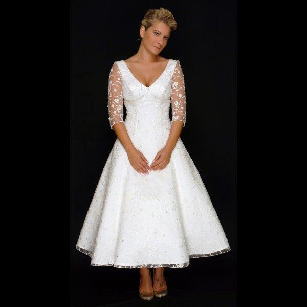 Vintage Style Lace Wedding Dresses: Georgia Tea Length Vintage Style Lace Wedding Dress With