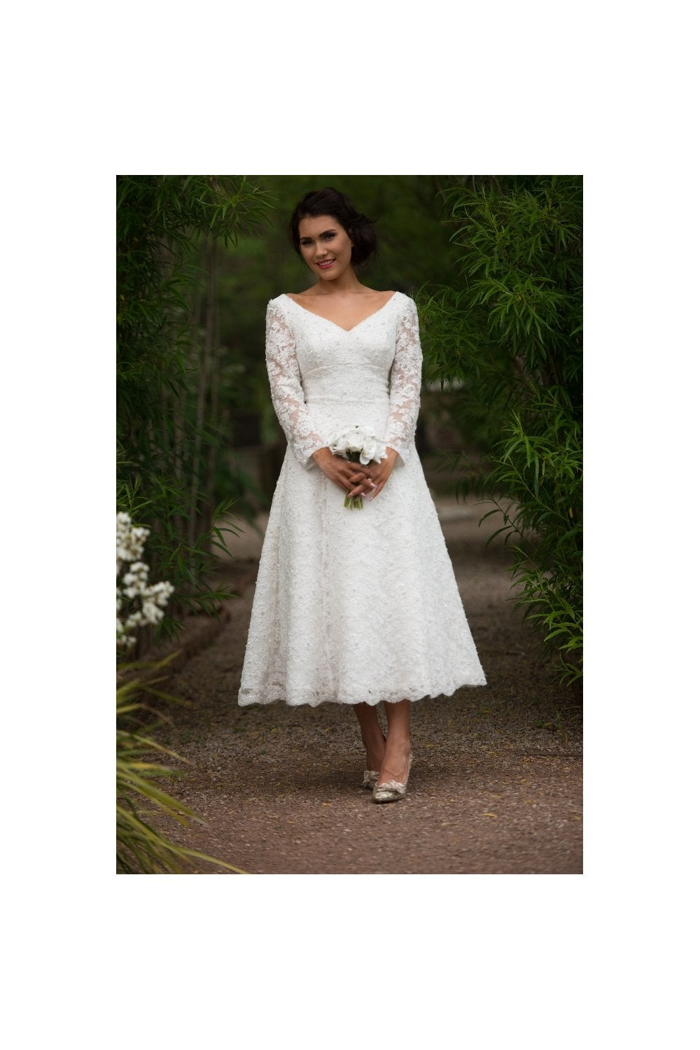 GILLIAN Tea length Lace Short Wedding Dress With Sleeves