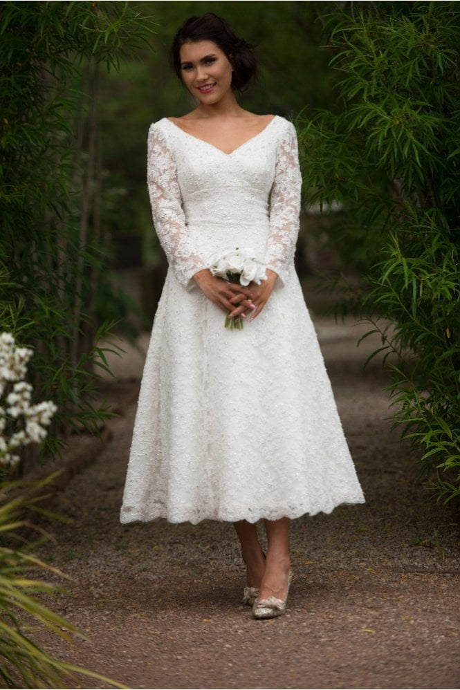 Gillian Tea Length Lace Wedding Dress With Long Sleeves By