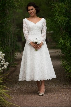 House Of Mooshki Claire Dress 1600 Tea Length Polka Dot Bridal Gown