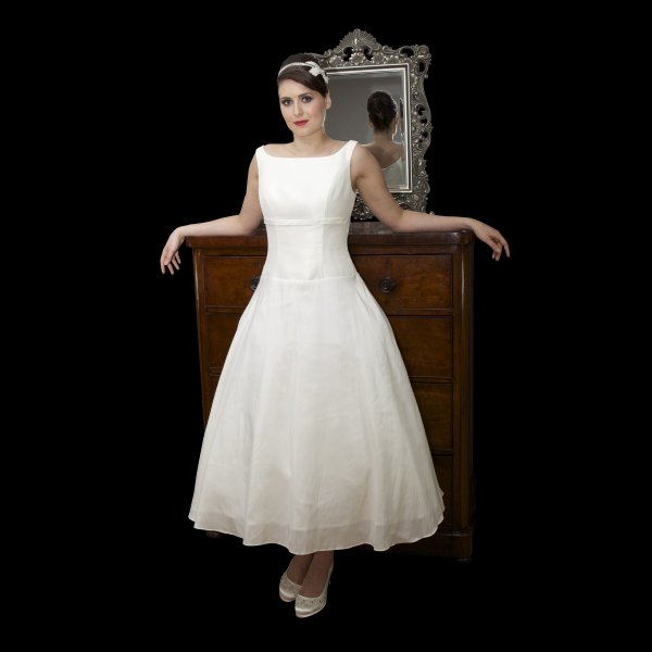 Vintage Inspired Tea Length Wedding Dress High Neck Dropped Waist
