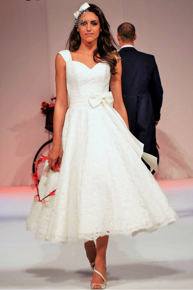 Timeless Chic Ivy Lace Calf Length Lace Short Wedding Dress With Cap Sleeve