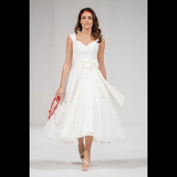 IVY LACE Tea Length 1950s Vintage Style Short Wedding Dress Cap Sleeve