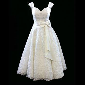 Ivy Lace Tea Length 1950s Vintage Style Short Wedding