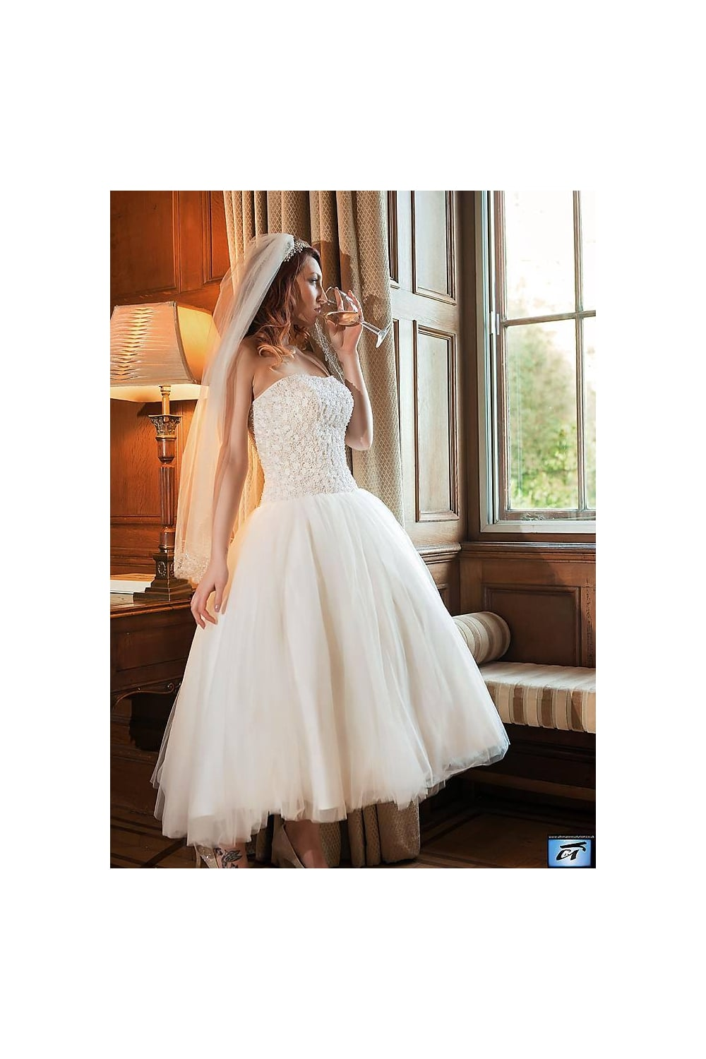 Timeless chic katie ballerina ankle length vintage short for Calf length wedding dresses