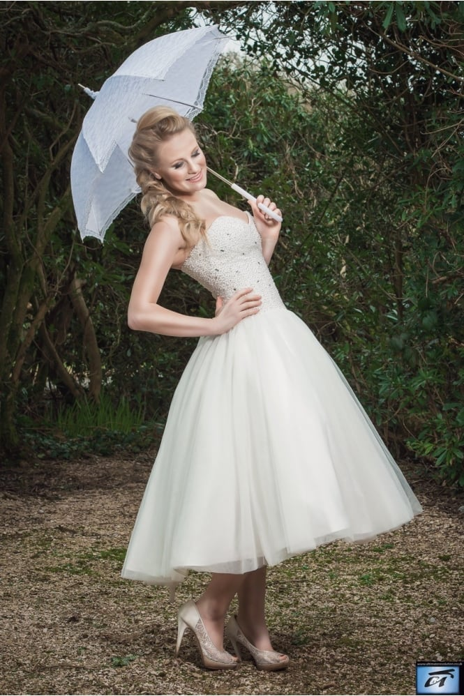 Timeless Chic LUCY Calf Ankle Length Princess Short Wedding Dress
