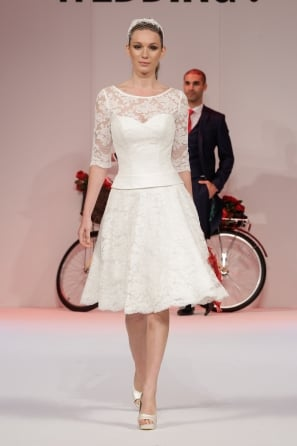 MAE Ivory Tea Length Lace Wedding Dress With Sleeves