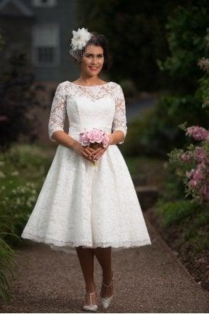 2f219075921 1048 SHELLEY Rita Mae Tea Length Lace Polka Short Wedding Dress Sleeves