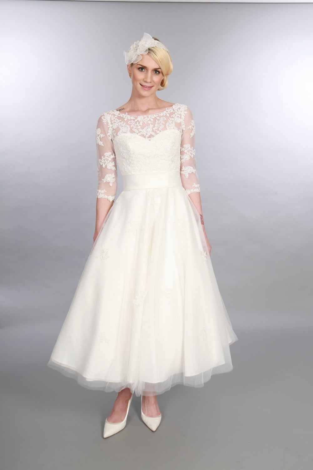 Timeless Chic POLLY Calf Ankle Vintage Short Wedding Dress Sleeves