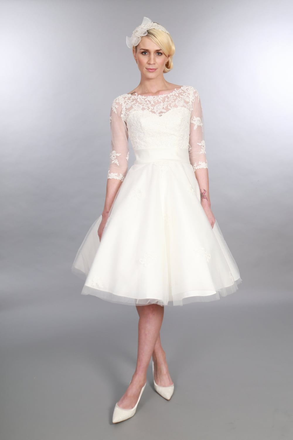 timeless chic polly tea length vintage 1950s style wedding dress sleeves p123 914 image - Vintage Wedding Gowns