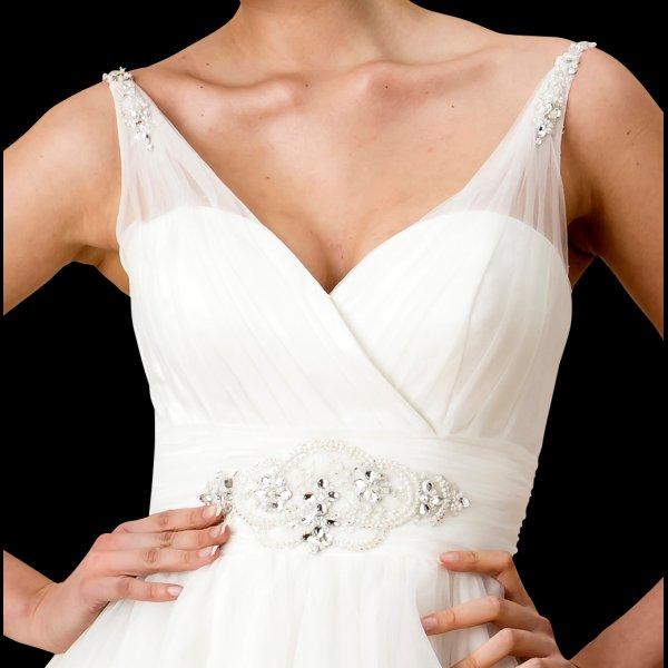 c15ff069369a Jane 1950s Tea Length Wedding Dress With Sheer Strap W112 True Bride