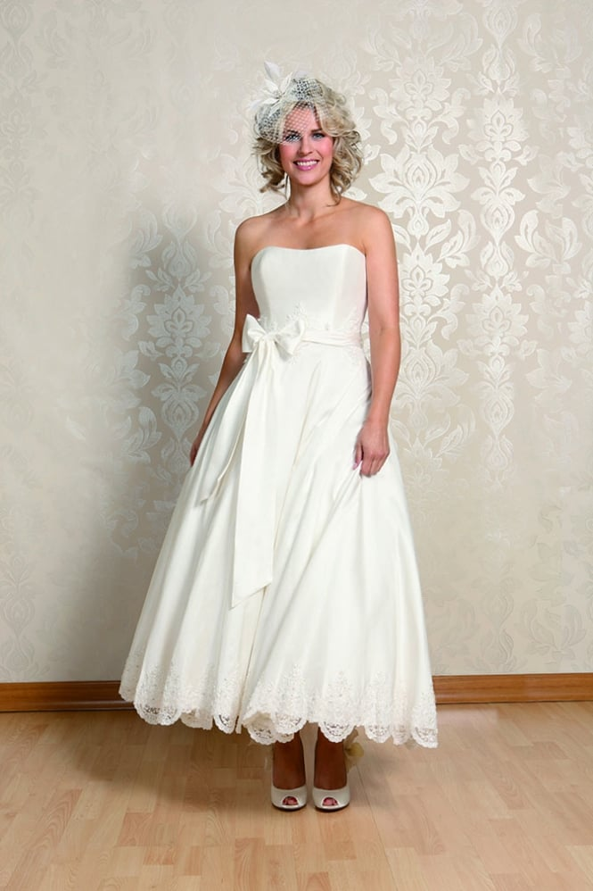 Alice calf length ivory silk strapless short wedding gown for Calf length wedding dresses