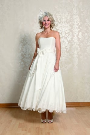 ALICE Calf Length Silk Strapless Short Wedding Gown