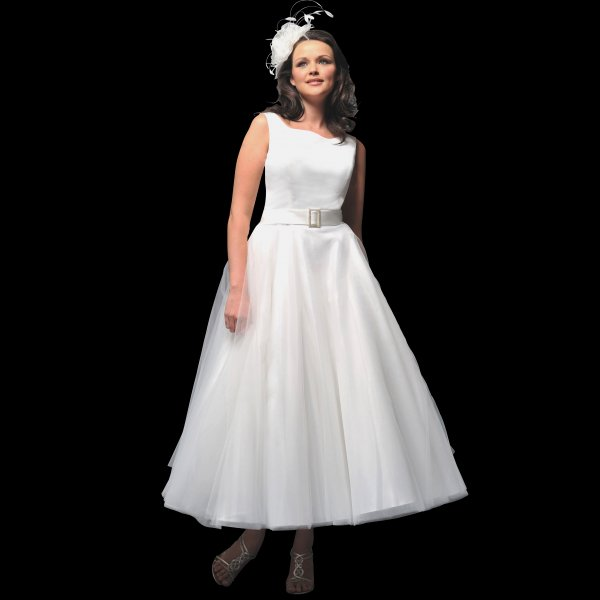 White Wedding Gown Styles: Ava 1950s Tea Length Wedding Dress By White Rose Style R532