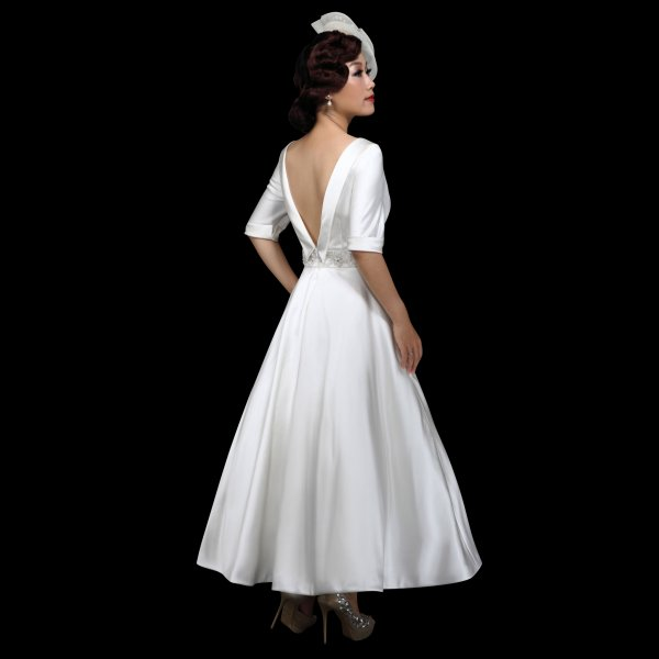 f00832668e31 Gloria Satin Tea Length Wedding Dress by White Rose Style R706