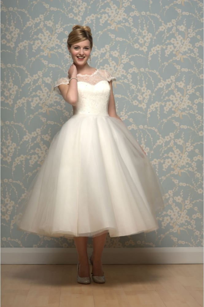 Lilyanna Tea Length Wedding Dress With Sleeves By White Rose R635