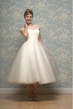 LILYANNA Calf Length 1950s Inspired Short Wedding Dress with Cap Sleeve